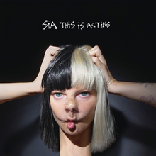 The album cover is actually a picture of Sia, but she has taped her nose into a different shape, and altered her neck, eyes, and arm formation through editing.