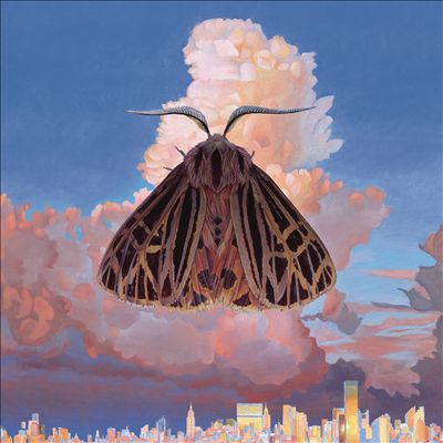 The album cover features an illustration of a cityscape and a colorful sky, with a moth as the central focus.