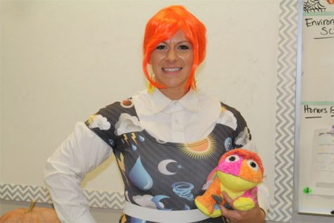 Teachers dressed up in elaborate costumes to show students even they can have fun during school. Mrs. Horn is dressed as Mrs. Frizzle from the Magic School Bus.