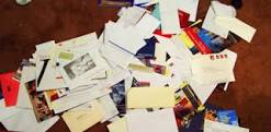 College letters in a pile.