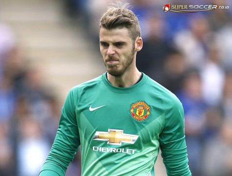 Keeper David De Gea gives a trademark grimace during the Leicester City vs. Manchester United game.