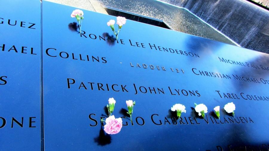 Memorial at the World Trade Center is captured in a romantic and reminiscent light.