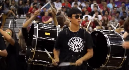 Performance during a school pep rally