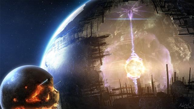 This is an artist rendering of a hypothetical Dyson sphere.