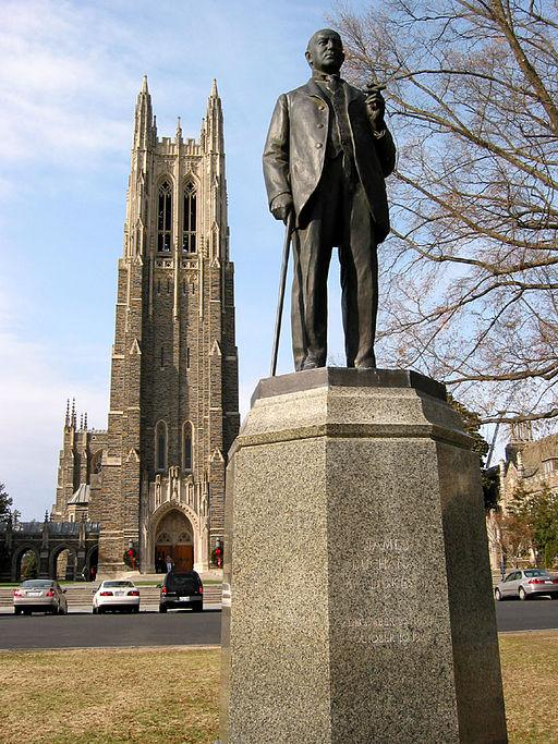 Statue of James B. Duke in front of the highly acclaimed Ivy League school, Duke University.