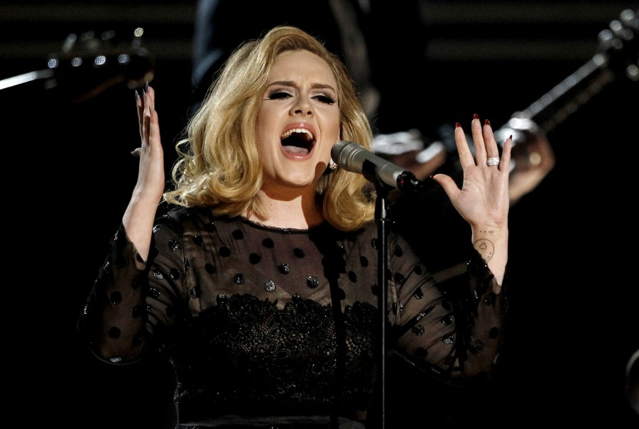Adele emotionally performs during the 2012 Grammy Awards. She took home 6 grammy awards that evening, including album of the year.