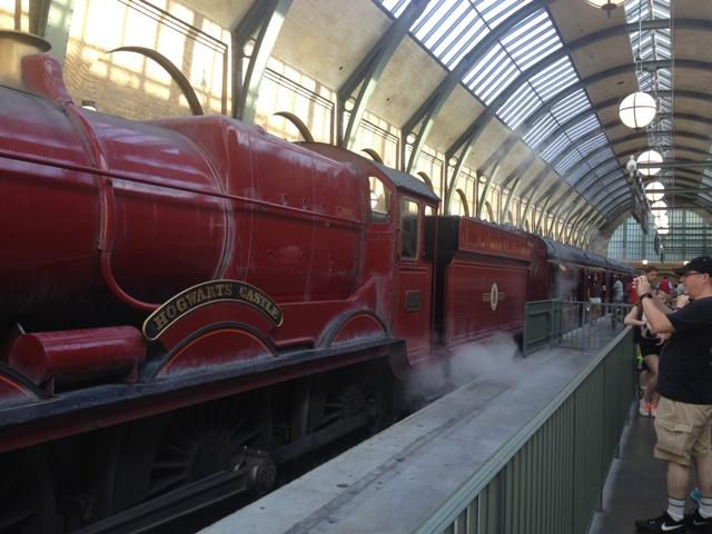 Passengers waiting to board the Hogwarts Express.