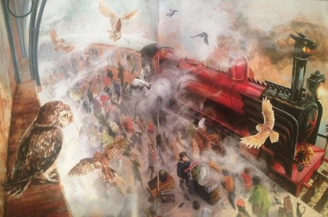 Photo taken of one of the new illustrations by Jim Kay in the illustrated edition of the first Harry Potter book.