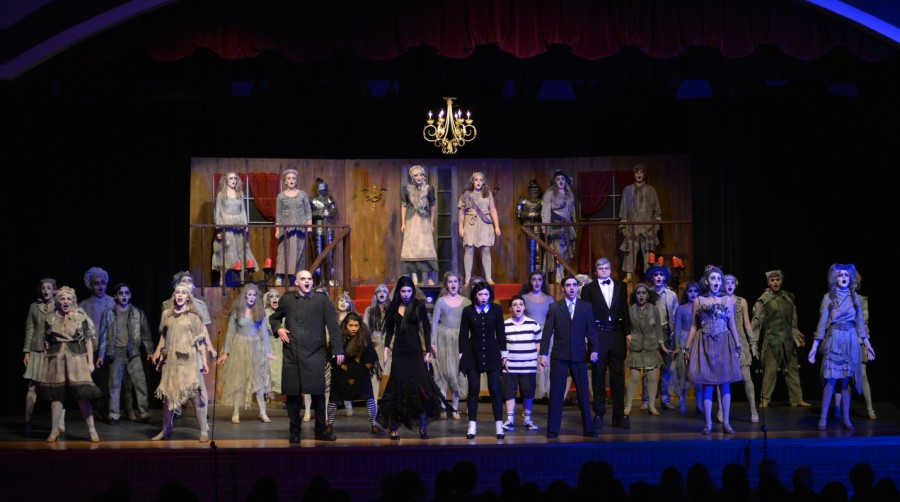 The Addams Family sings loud and proud during their big number