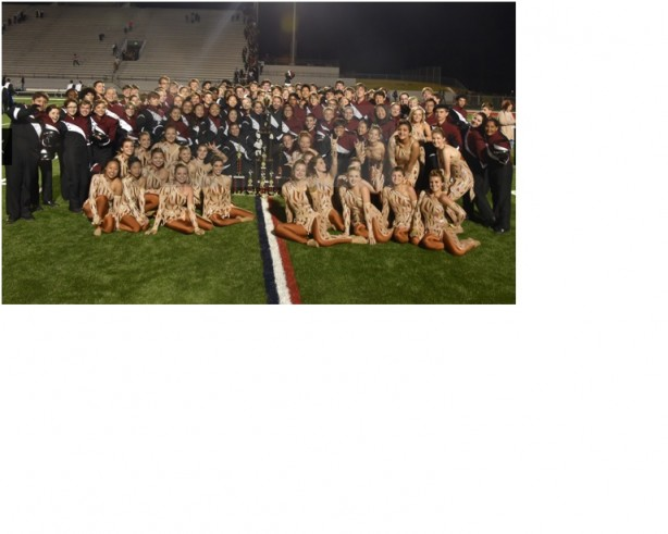 The Lambert Competition band posing at their last major competition at the Heart of Georgia Invitational.