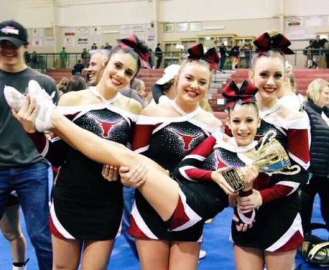 Some of the varsity competition cheerleaders celebrating their success at the regional competition.