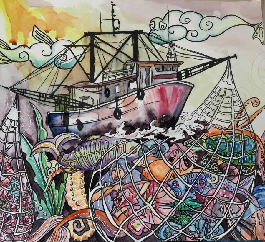 Tian exposes the devastating effects of IUU fishing on the world's marine life through artistic expression