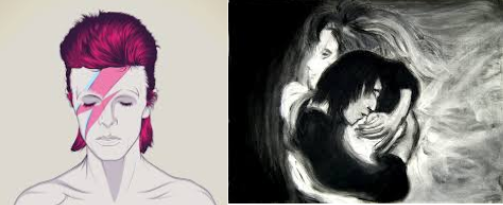 Ghostly art of Severus Snape on the right, capturing the pure solemnity of Alan Rickman's demise. Art of David Bowie on the left depicts his colorful persona, blank and no more but still powerful.
