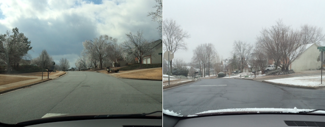 Taken in the same place just a few days apart, the difference the weather brings is unbelievable; it is almost like there were two seasons in one week.