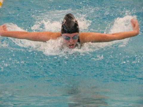 Lady Longhorns speeds down the pool, performing a butterfly swim.