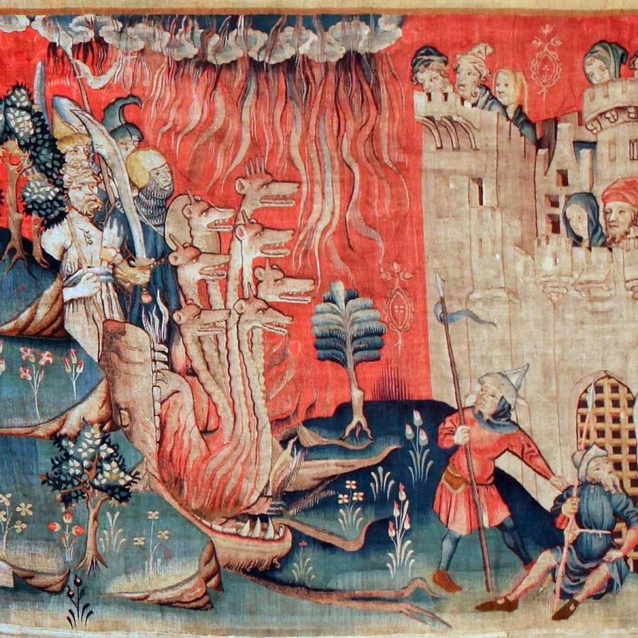 The first album cover, depicting an apocalyptic scene from a French tapestry.