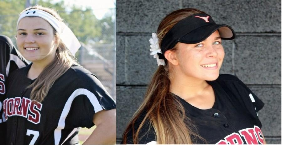 Portraits of Marissa Guimbard (left) and Kassidy Kuplin (right), showing off their confidence in their softball gear
