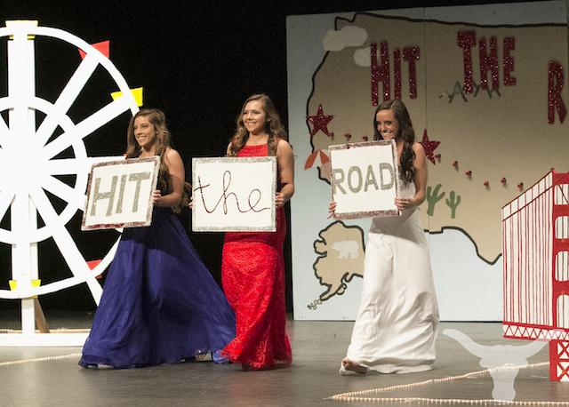 Lambert senior girls (from left) Jessica Stenhouse, Emily Willman, and Hannah Blythe open up their last high school fashion show,