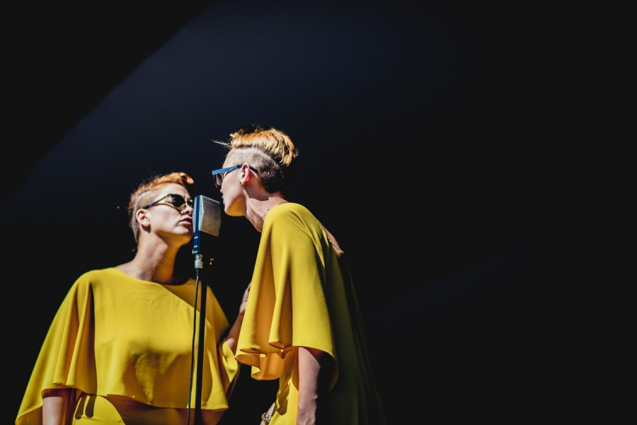 The two lead singers, Jess Wolfe (pictured left) and Holly Laessig (pictured right), always match down to hair styles and sunglasses in a retro chic fashion. They share a microphone and fashion on stage to represent the unity of the vocals.