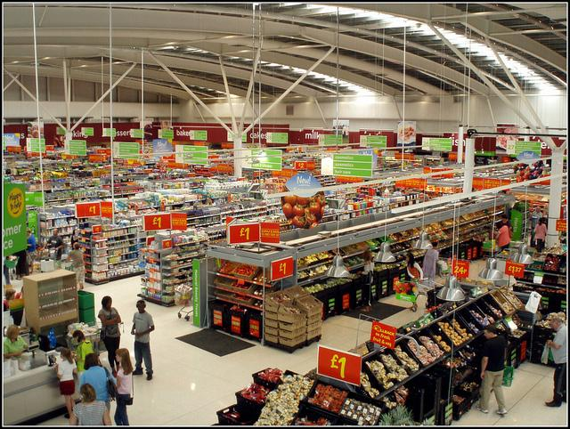 Asda, a popular grocery which is often crowded and noisy.