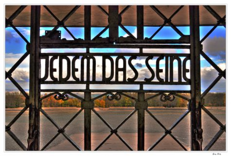The sign outside Buchenwald which reads in English,