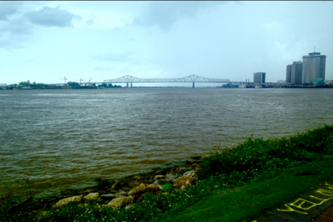 The twin bridges that cross the Mississippi River to New Orleans, Louisiana.