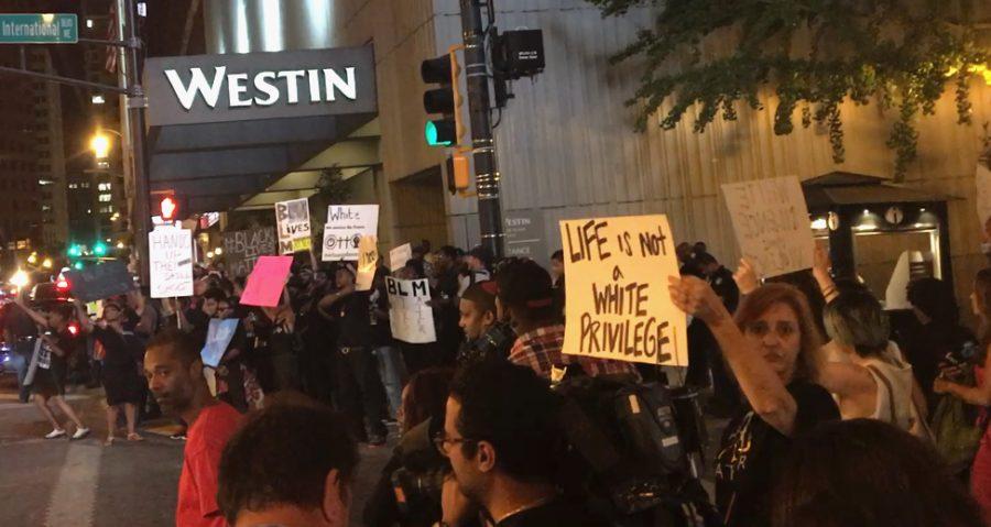 Protesters in downtown Atlanta.