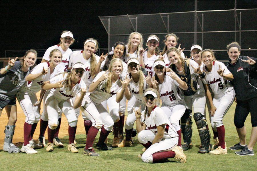 "Lady Horns showing their pride and excitement with the signature ""Hook 'Em"" gesture. Photo used by permission from Nancy Aledia."