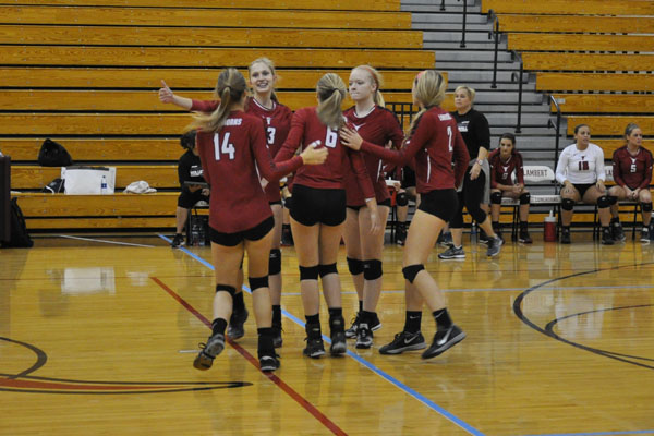 Lambert Volleyball celebrates after a win against Dunwoody