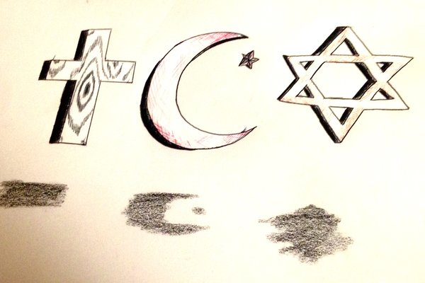 Photo drawn and edited by  Resident Artist, Sarah Sander. Christianity, Islam, and Judaism are a few of the largest religions globally, with more than 1 billion followers combined.