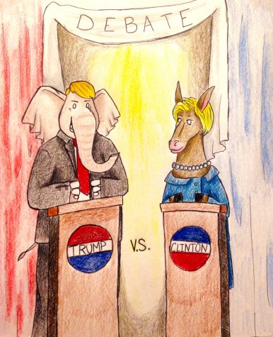 Resident Artist Sarah Sander's depiction of Donald Trump and Hillary Clinton at the 3rd Presidential Debate.
