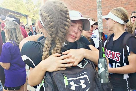 Tears run amuck, especially for senior Graham Bryant after her final game as a Longhorn. Photo used with permission from Michelle Miller.