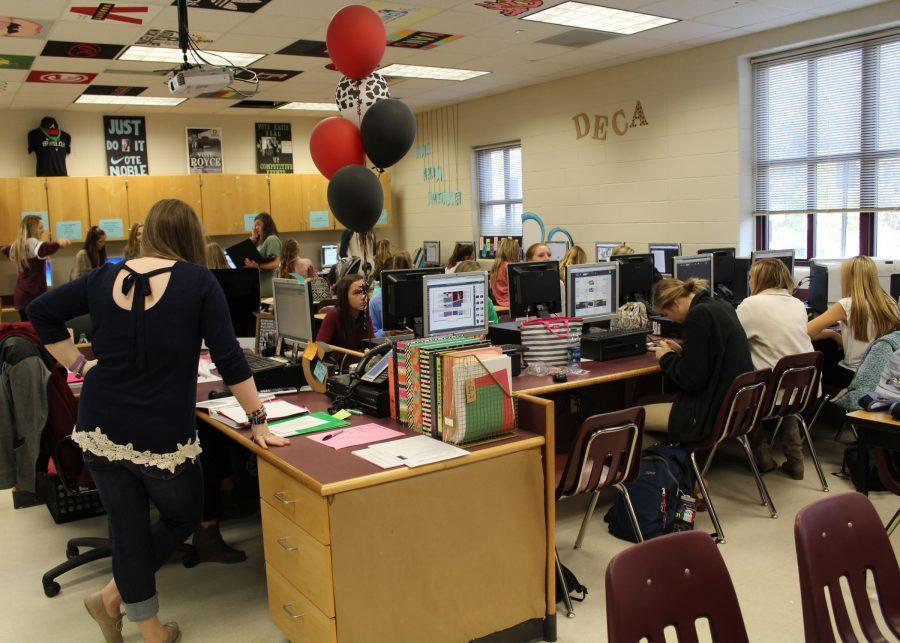 Lambert's Yearbook Staff hard at work after selecting the Outstanding Seniors from the Class of 2017.