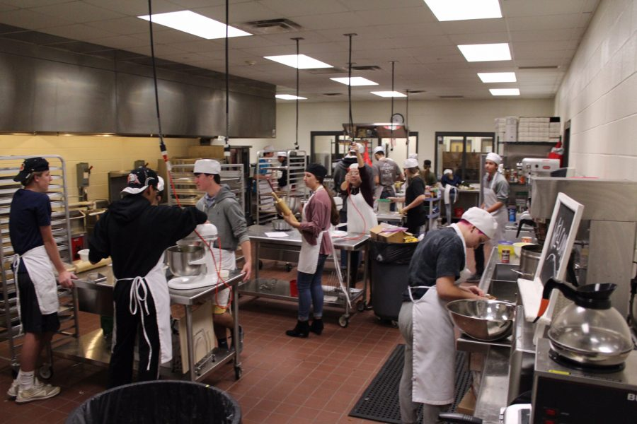 The hustle and bustle of a kitchen can not be ignored. To some one that's never witnessed what goes on in Lambert's Culinary Arts class they might call it chaos, but that's not true. There's an organization to it; everyone has a purpose and knows what they're doing. Everything comes together to make the perfect dish.