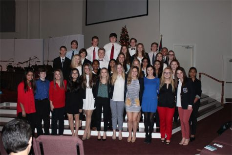 Lambert DECA members take a group picture after competing in the Region Competition at First Baptist Cumming church.