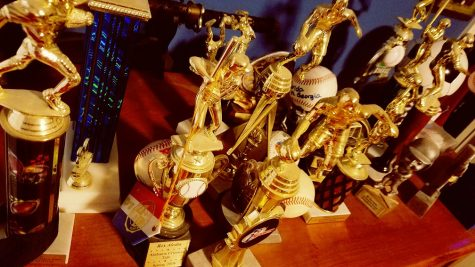 Participation trophies collect dust and are left forgotten on a dresser.