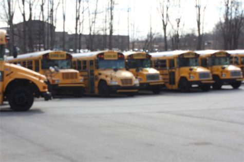 A row of Lambert's school buses lie undisturbed while school is in session.