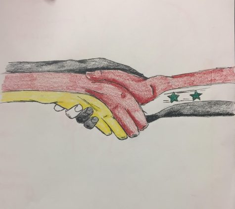 Personifications of Germany and Syria hold hands as a symbol of peace.  Created by resident artist, Sarah Sander