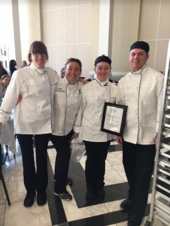 (Left to right: Hannah Saylor, Laura King, Hailey Guerrasio Shaun McManus). These culinary art competitors won 3rd place at the FCCLA state convention.