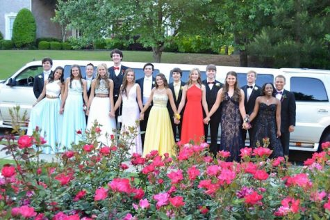 A prom group stands in front of their limo before leaving for the dance.