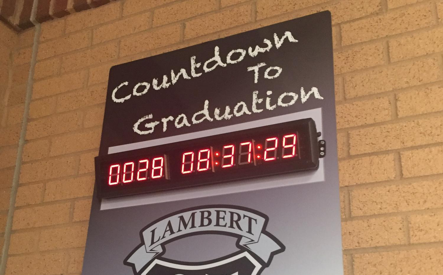 The countdown in the hallway serves as a visual reminder to how quickly graduation is approaching (Photo by Colin Masterson)
