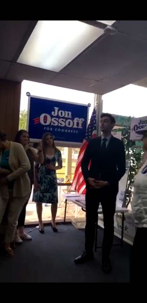 John Ossoff speaking to his campaign team.