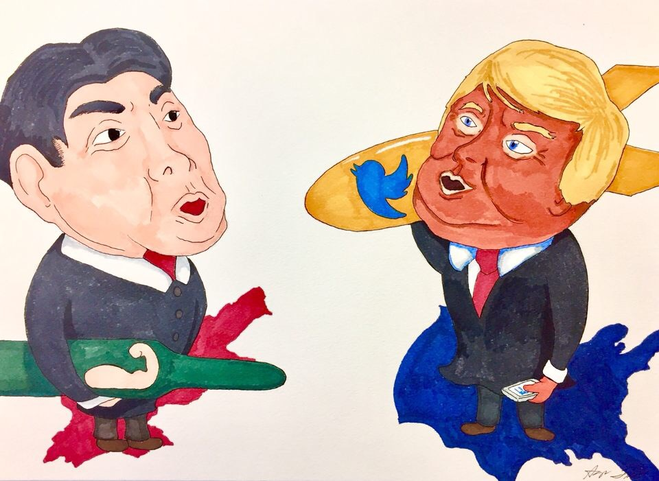 Donald Trump and Kim Jong Un standing strong by their countries while nuclear war hangs in the balance.