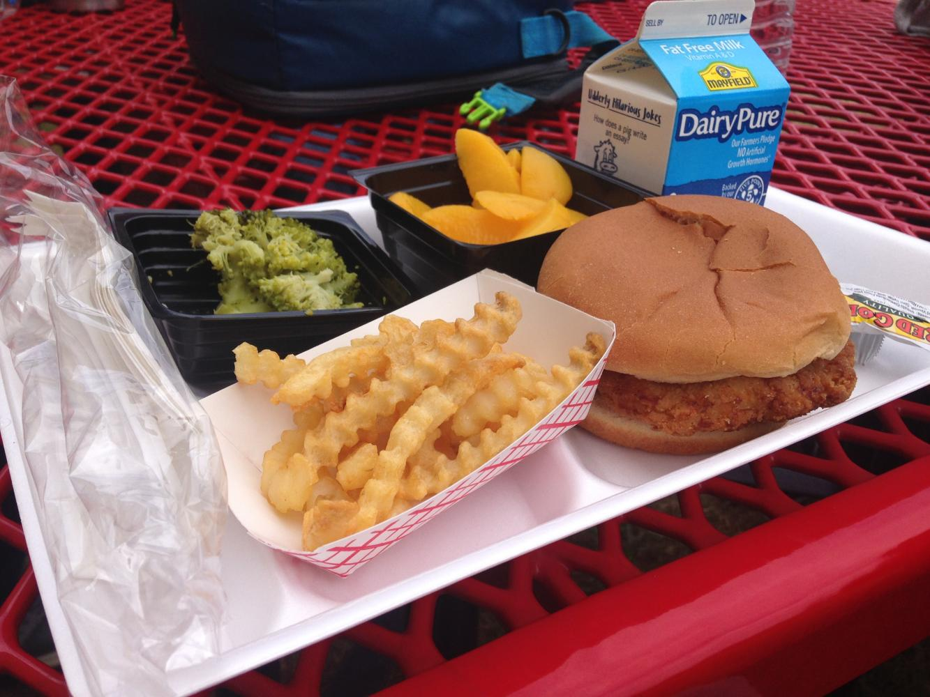 A typical meal available at Lambert on top of a polystyrene tray used by the school.