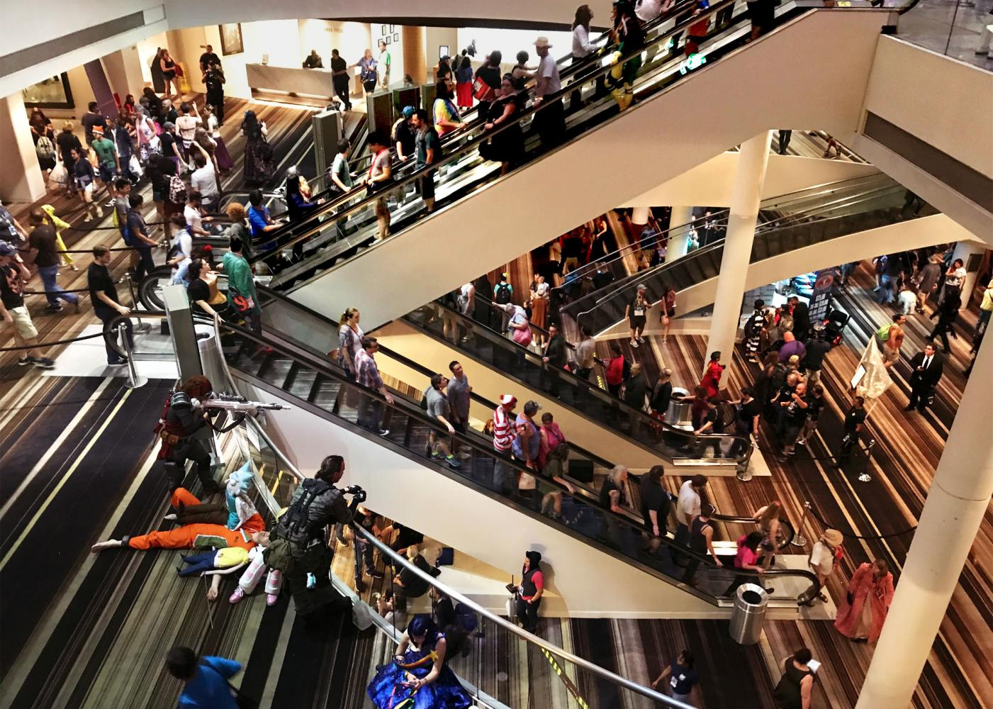 Once I reached the Marriott Marquis I became fully submerged in the Dragon Con experience. It can be a lot to take in, with three open floors full of people. The Marriott Marquis during DragonCon is definitely one of the best places to go people watching.