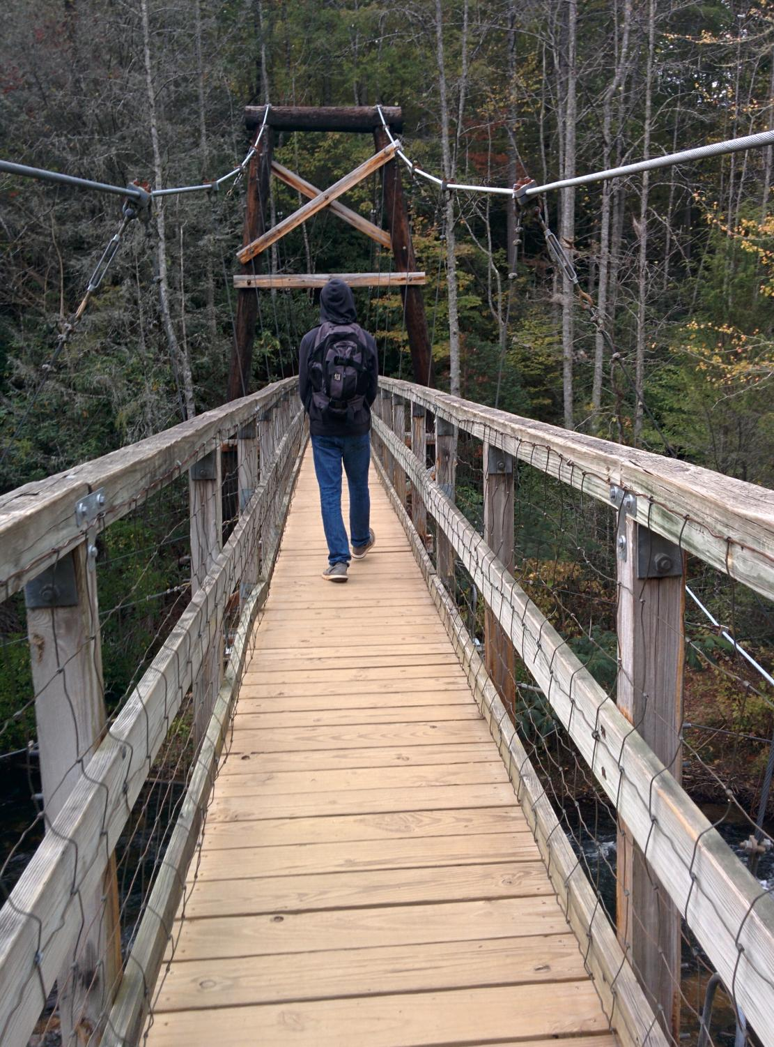 Pictured is the Toccoa River Swinging Bridge in Fannin County, Georgia, right outside of Blue Ridge.