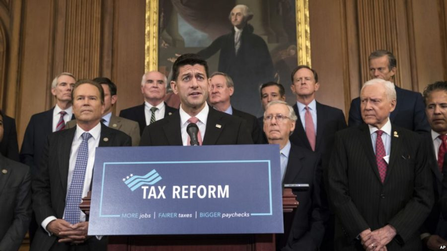 Speaker of the House Paul Ryan, R-Wis., and Senate Majority Leader Mitch McConnell, R-Ky., meet with reporters to announce the Republicans' proposed rewrite of the tax code for individuals and corporations, at the Capitol in Washington, Wednesday, Sept. 27, 2017. President Donald Trump and congressional Republicans are writing a far-reaching, $5-trillion plan they say would simplify the tax system and nearly double the standard deduction used by most Americans.   (AP Photo/J. Scott Applewhite)