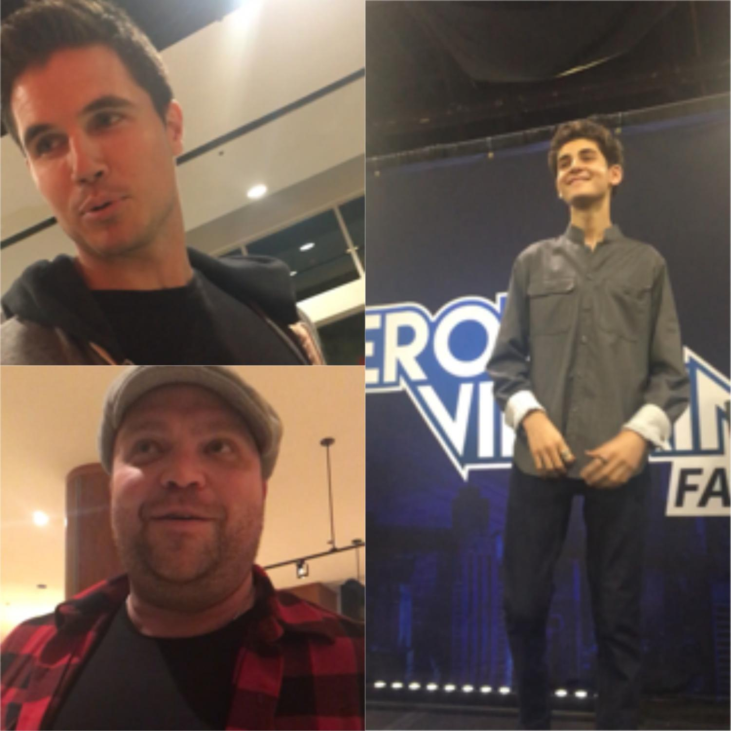 The image features the three DC actors quoted in the article. Top left: Robbie Amell. Bottom left: Drew Powell. Right: David Mazouz.