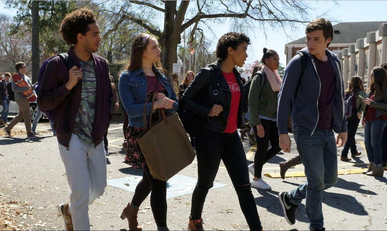 Love, Simon poster featuring Simon, portrayed by Nick Robinson, and his friends, portrayed by Jorge Lendeborg Jr., Katherine Langford, and Alexandra Shipp.