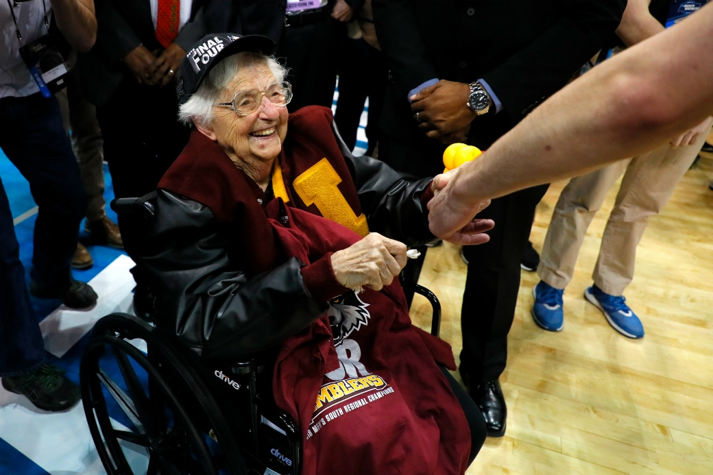 Sister Jean has been an inspiration to Loyola on their trip to the Final Four (Photo via SLAM Online)